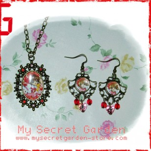 Cardcaptor Sakura カードキャプターさくら Sakura Kinomoto anime Cabochon Bronze Necklace & Earrings Set