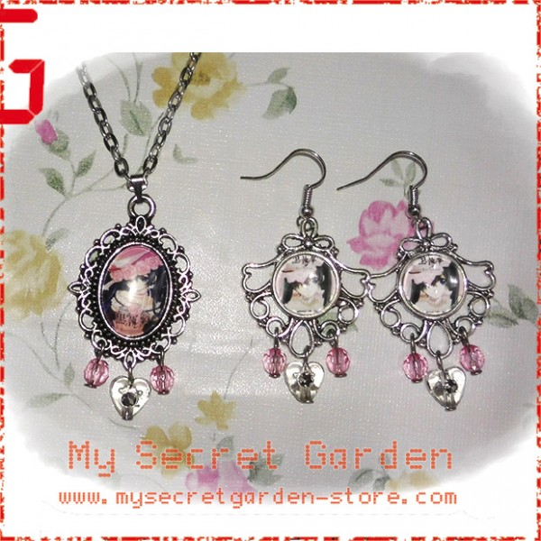 Black Butler ( Kuroshitsuji ) 黒執事 Ciel Phantomhive anime Cabochon Necklace & Earrings Set