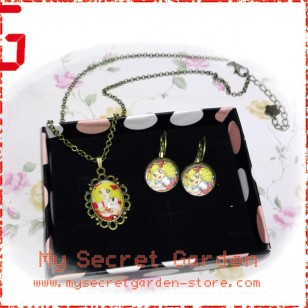 Candy Candy キャンディ・キャンディ Candice White Ardlay Anime Cabochon Necklace & Earrings Set