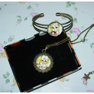 Candy Candy Candice White Ardlay Cabochon Bronze Necklace and Bracelet Set