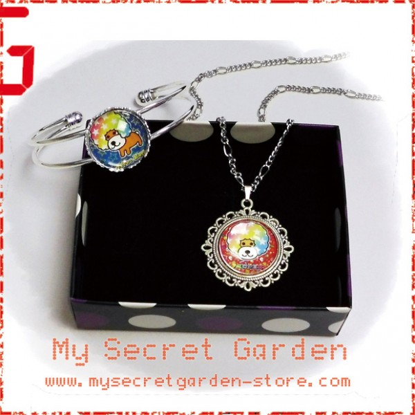Afro Ken Dog Cabochon Necklace and Bracelet Set