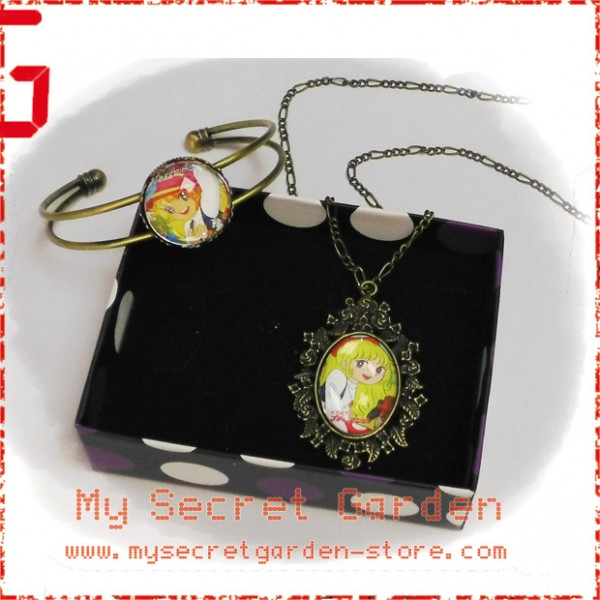 Angie Girl Anime Cabochon Bronze Necklace and Bracelet Set