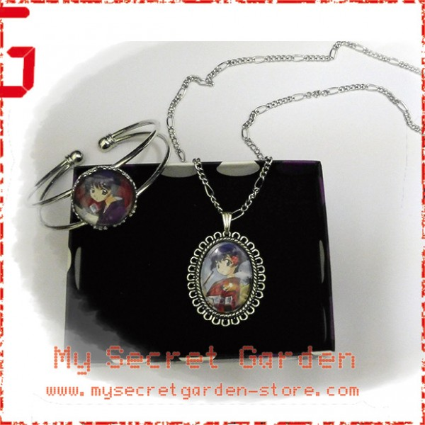 Ai Yori Aoshi Aoi Sakuraba Anime Cabochon Necklace and Bracelet Set