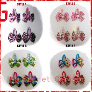 ***VALUE PACK Assorted Style***Cartoon Grosgrain Ribbon Girls Hair Bows Clip BB Hair Pin ( C )