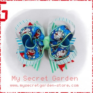 "Doraemon ドラえもん Anime Grosgrain Ribbon Girls 4"" Boutique Bow Hair Bows ( Hair Clip ) # Style B"