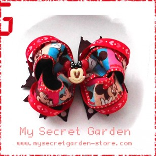"Minnie & Micxxx Mouse Grosgrain Ribbon Girls 4"" Boutique Bow Hair Bows ( Hair Clip or Hair Band)"