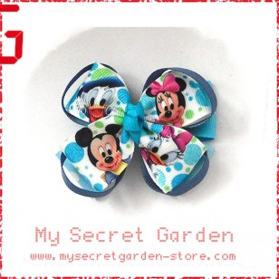 Minnie Mouse & Donald Duck Grosgrain Ribbon Girls Hair Bows ( Hair Clip or Hair Band)