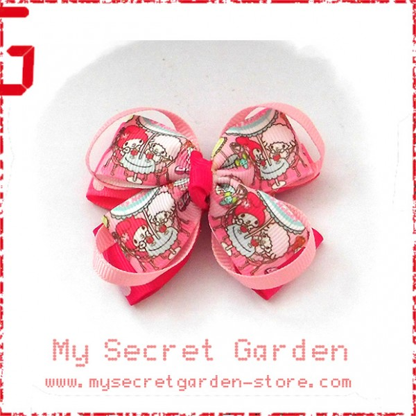 My Melody Grosgrain Ribbon Girls Hair Bows ( Hair Clip or Hair Band)