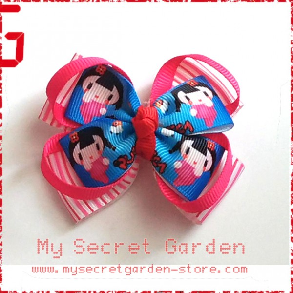 Pucca Grosgrain Ribbon Girls Hair Bows ( Hair Clip or Hair Band)