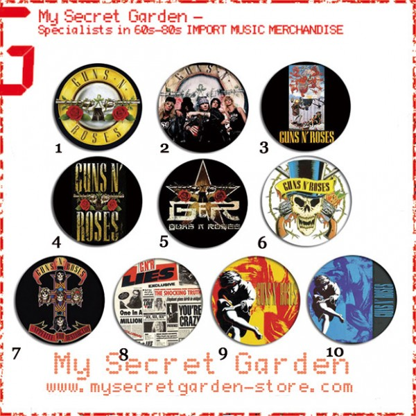 Guns 'N' Roses - Appetite For Destruction, Use Your Illusion Album Pinback Button Badge Set ( or Hair Ties / 4.4 cm Badge / Magnet / Keychain Set )