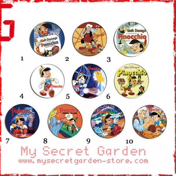 Pinocchio - Pinback Button Badge Set 1b ( or Hair Ties / 4.4 cm Badge / Magnet / Keychain Set )