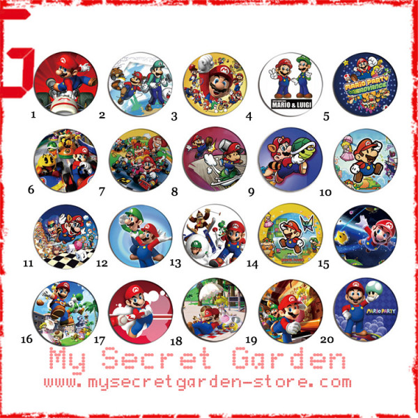 Super Mario Bros - Pinback Button Badge Set 1 ( or Hair Ties / 4.4 cm Badge / Magnet / Keychain Set )