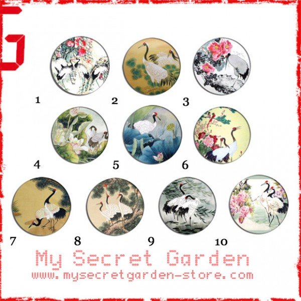 Chinese Painting - Crane Art Pinback Button Badge Set ( or Hair Ties / 4.4 cm Badge / Magnet / Keychain Set )